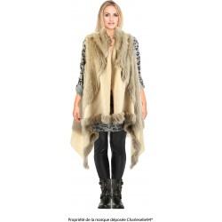 Gilet long cape sans manches laine fausse fourrure beige JUDITH