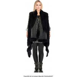 Gilet long cape sans manches laine fausse fourrure noir JUDITH