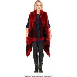 Gilet long cape sans manches laine fausse fourrure bordeaux JUDITH