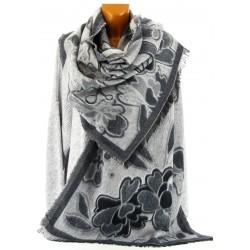 écharpe longue châle étole plaid laine hiver noir KAMILA