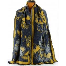 écharpe longue châle étole plaid laine hiver bleu KAMILA