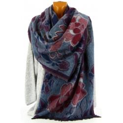 écharpe longue châle étole plaid laine hiver bordeaux KAMILA