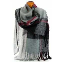 écharpe longue châle étole plaid laine hiver tartan LORRAINE
