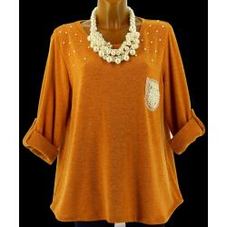 Tunique laine perles bohème évasée grande taille safran Calinou