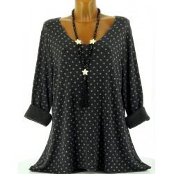 Tunique tee shirt coton molletonné grande taille noir Princesse