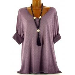Tunique tee shirt coton molletonné grande taille violet Princesse