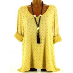 Tunique tee shirt coton molletonné grande taille jaune Princesse