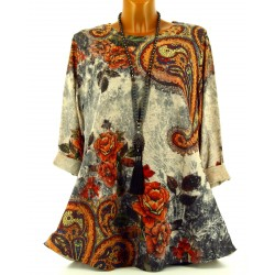 Tunique longue tee shirt ample bohème manches longues NATURE