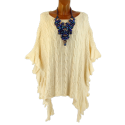 Poncho pull long hiver laine grande taille beige KENDALL