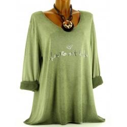 Tunique tee shirt coton molletonné grande taille kaki PHILO