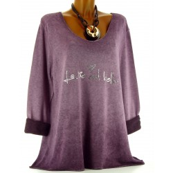 Tunique tee shirt coton molletonné grande taille violet PHILO