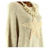 Pull long épais laine mohair étoile bohème beige CASSANDRA