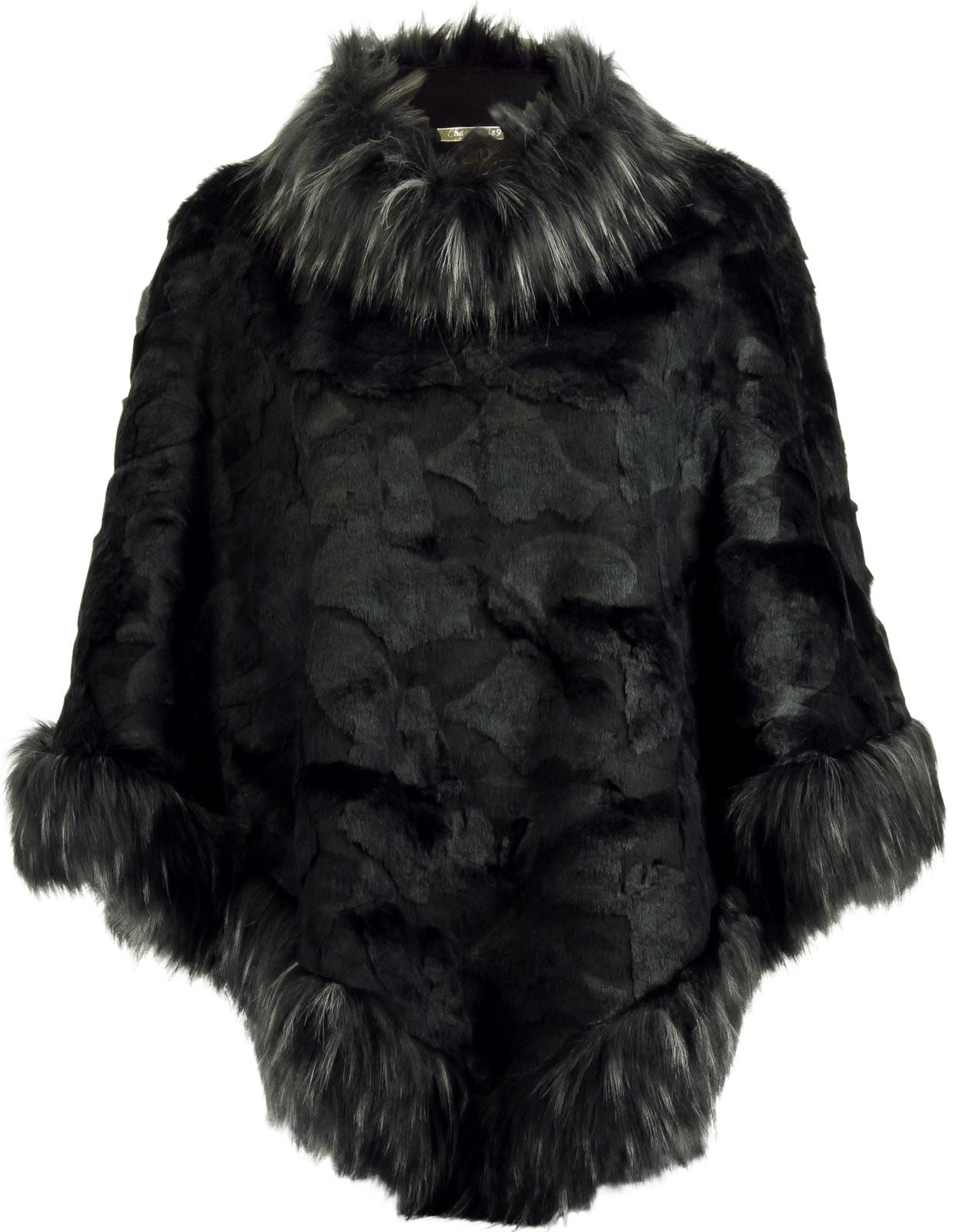 cape manteau poncho hiver fausse fourrure noir monalisa. Black Bedroom Furniture Sets. Home Design Ideas