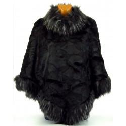 Cape Manteau Poncho hiver fausse fourrure noir Monalisa