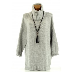 Pull long laine mohair grande taille gris clair LOOSE