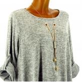 Tunique bijou longue asymétrique bohème gris perle grande taille  PAMELLA