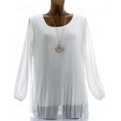 Blouse tunique mousseline plissée + collier MARINNA blanc