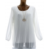 Blouse tunique mousseline plissée + collier MARINNA blanc