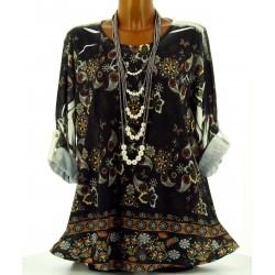 Tee shirt tunique bohème grande taille noir NINA