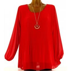 Blouse tunique mousseline plissée + collier MARINNA rouge