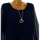 Blouse tunique mousseline plissée + collier MARINNA marine