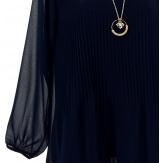 Blouse tunique mousseline plissée + collier MARINNA marine