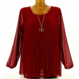 Blouse tunique mousseline plissée + collier MARINNA bordeaux