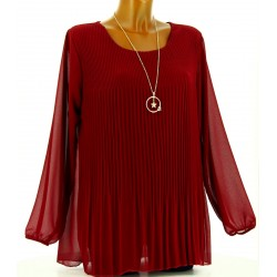 Blouse tunique mousseline plissée + collier MARINNA bordeaux