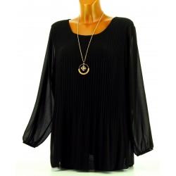 Blouse tunique mousseline plissée + collier MARINNA noir