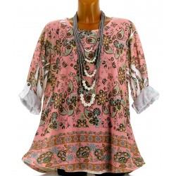 Tee shirt tunique bohème grande taille NINA rose