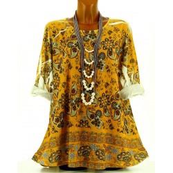 Tee shirt tunique bohème grande taille NINA safran
