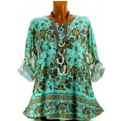 Tee shirt tunique bohème grande taille NINA vert