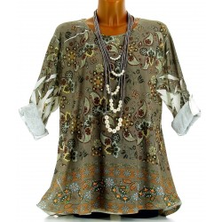 Tee shirt tunique bohème grande taille NINA taupe