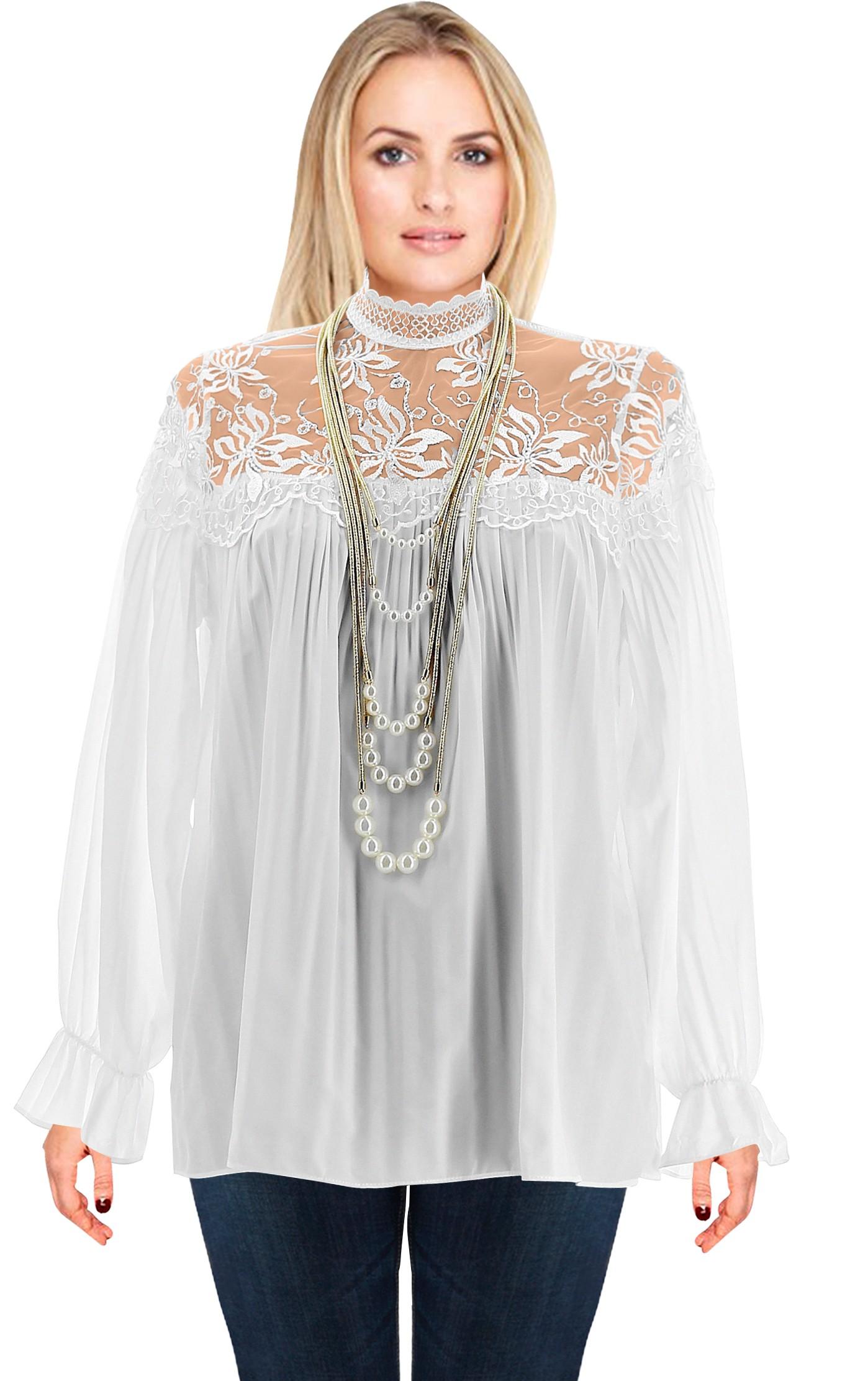 blouse chemisier tunique boh me dentelle blanc jordi. Black Bedroom Furniture Sets. Home Design Ideas