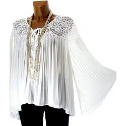Tunique blouse plissée dentelle mousseline blanc LAURENCE