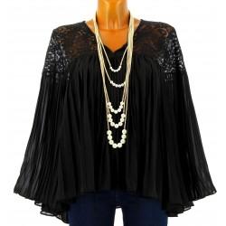 Tunique blouse plissée dentelle mousseline noir LAURENCE