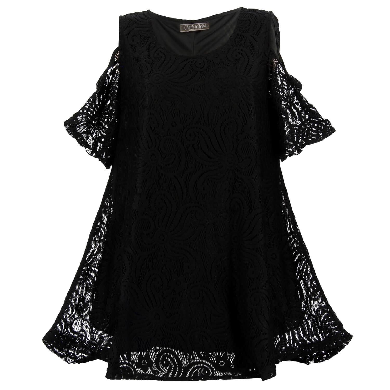 détails pour nouvelle arrivée procédés de teinture minutieux Tunique longue dentelle grande taille bohème noir EDITH
