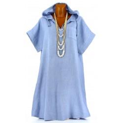 Robe été à capuche lin bohème grande taille lavande ANGELE