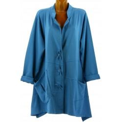 Veste longue sweat asymétrique grande taille bleu jean LUCIA