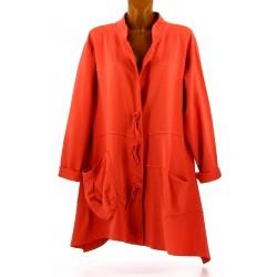Veste longue sweat asymétrique grande taille orange LUCIA