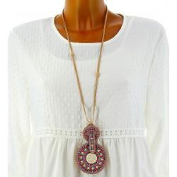 Collier long sautoir bohème ethnique perles CO04