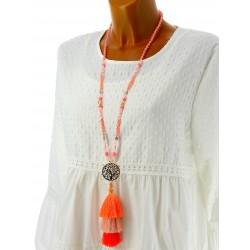 Collier long sautoir bohème perles pompons corail CO08
