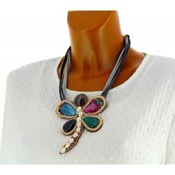 Gros collier fantaisie perles résine libellule  multicolore CO11