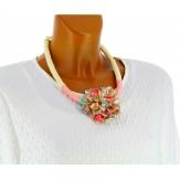 Gros collier fantaisie bohème perles nacre CO12