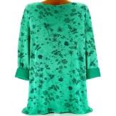 Tunique tee shirt coton bohème grande taille vert AGATA