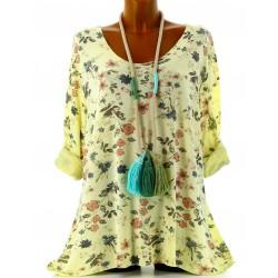 Tunique tee shirt coton bohème grande taille jaune AGATA
