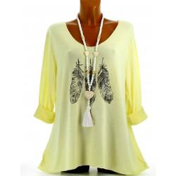Tunique tee shirt coton bohème grande taille jaune APACHE