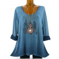 Tunique tee shirt coton bohème grande taille bleu jean APACHE