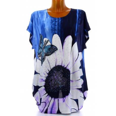 Tee shirt drapé strass tunique grande taille bleu PAQUERETTE