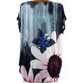 Tee shirt drapé strass tunique grande taille gris PAQUERETTE